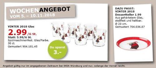 IKEA Würzburg - VINTER 2018 Glas 6 St. - jetzt 50% billiger