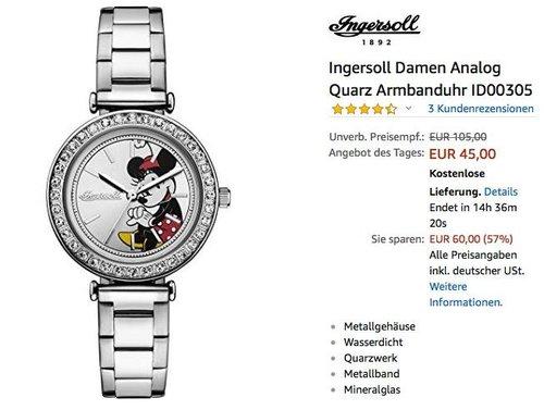 Ingersoll Damen Minnie Maus Armbanduhr ID00305 - jetzt 35% billiger