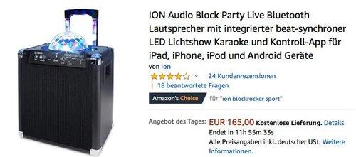 ION Audio Block Party Live Bluetooth-Lautsprecher mit beat-synchroner LED-Lichtshow - jetzt 24% billiger