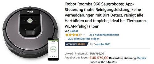 iRobot Roomba 960 Saugroboter - jetzt 11% billiger