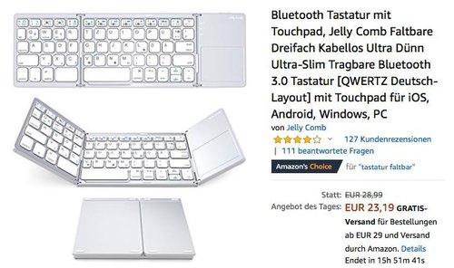 Jelly Comb Faltbare Bluetooth-Tastatur mit Touchpad in Weiß - jetzt 20% billiger