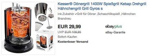 Kesser® Dönergrill 1400W schwarz - jetzt 19% billiger