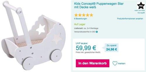 Kids Concept® Puppenwagen Star mit Decke, weiß - jetzt 22% billiger