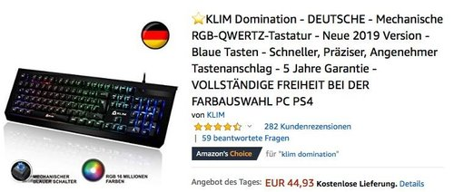 KLIM Domination - Mechanische RGB-QWERTZ-Tastatur - jetzt 17% billiger