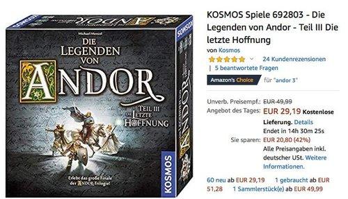 KOSMOS Spiele 692803 - Die Legenden von Andor - Teil III Die letzte Hoffnung - jetzt 27% billiger