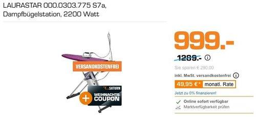 LAURASTAR  S7a Dampfbügelstation inkl. 150€ Coupon - jetzt 22% billiger