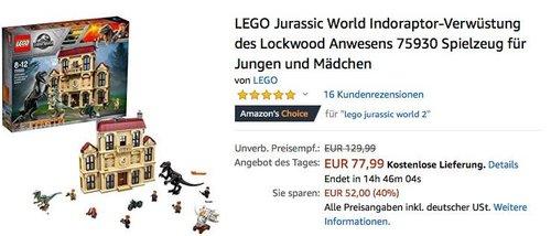 LEGO (75930) Jurassic World Indoraptor-Verwüstung des Lockwood Anwesens - jetzt 22% billiger