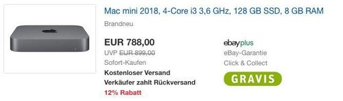 Mac mini 2018, 4-Core i3 3,6 GHz, 128 GB SSD, 8 GB RAM - jetzt 4% billiger