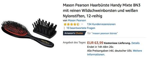 Mason Pearson Haarbürste Mixte BN3 mit reinen Wildschweinborsten - jetzt 20% billiger
