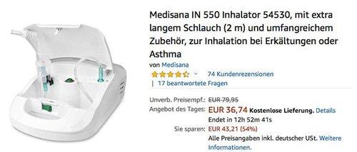 Medisana IN 550 Inhalator zur Inhalation bei Erkältungen oder Asthma - jetzt 26% billiger
