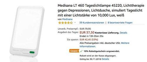 Medisana LT 460 Tageslichtlampe bis zu 10000 Lux - jetzt 29% billiger
