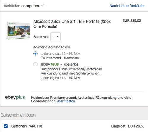 Microsoft XBox One S 1 TB + Fortnite (Xbox One Konsole) - jetzt 24% billiger