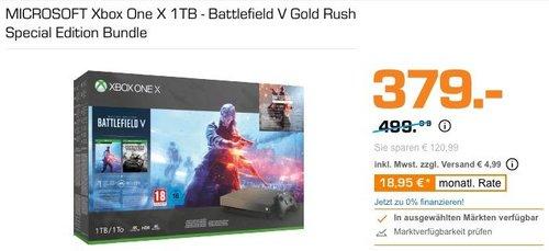 MICROSOFT Xbox One X 1TB - Battlefield V Gold Rush Special Edition - jetzt 22% billiger