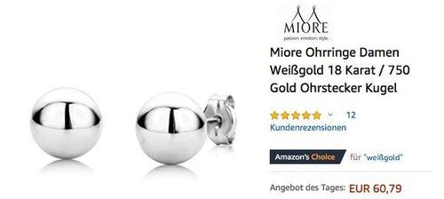 Miore Ohrringe Damen Weißgold 18 Karat / 750 Gold Ohrstecker Kugel - jetzt 51% billiger