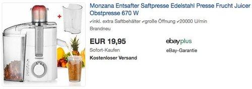 Monzana Entsafter Saftpresse 670 W - jetzt 9% billiger