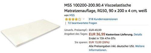 MSS Viscoelastische Matratzenauflage RG50, 90 x 200 x 4 cm, weiß - jetzt 26% billiger