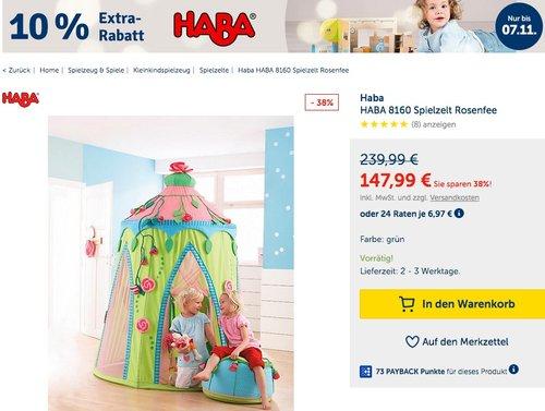 myToys.de 10% Extra-Rabat auf HABA: z.B. HABA 8160 - Spielzelt Rosenfee - jetzt 10% billiger