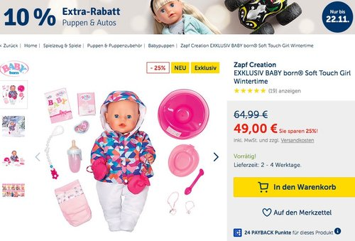 myToys.de 10% Extra-Rabat auf Puppen & Autos: z.B.  Zapf Creation EXKLUSIV BABY born® Soft Touch Girl Wintertime - jetzt 9% billiger