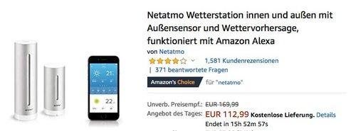 Netatmo Wetterstation innen und außen mit Außensensor und Wettervorhersage - jetzt 22% billiger