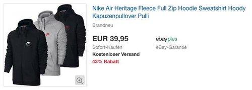 Nike Air Heritage Fleece Full Zip Kapuzenpullover - jetzt 13% billiger