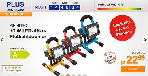 NINETEC 10 W LED-Akku-Flutlichtstrahler - jetzt 20% billiger