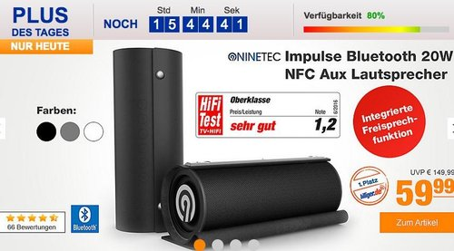 NINETEC Impulse 20W Bluetooth-Lautsprecher - jetzt 14% billiger