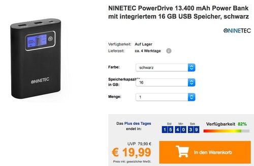 NINETEC PowerDrive 13.400 mAh Power Bank mit integriertem 16 GB USB Speicher - jetzt 38% billiger