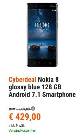 Nokia 8 glossy blue 128 GB Android 7.1 Smartphone - jetzt 3% billiger