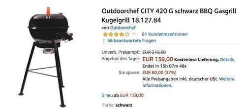 Outdoorchef CITY 420 G schwarz BBQ Gasgrill - jetzt 26% billiger