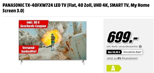 PANASONIC TX-40FXW724 40 Zoll UHD 4K - Fernseher zuzüglich 50€ Geschenk-Coupon - jetzt 7% billiger