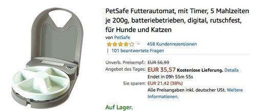 PetSafe Futterautomat für 5 Mahlzeiten je 200g - jetzt 33% billiger