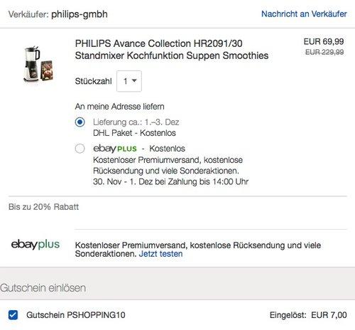 PHILIPS Avance Collection HR2091/30 Standmixer mit Kochfunktion (neu und unbenutzt, aber leichte Verpackungsmängel können vorhanden sein) - jetzt 10% billiger