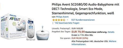 Philips Avent SCD580/00 Audio-Babyphone mit Sternenhimmel-Funktion - jetzt 22% billiger