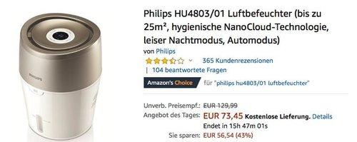 Philips HU4803/01 Luftbefeuchter bis zu 25m² - jetzt 27% billiger