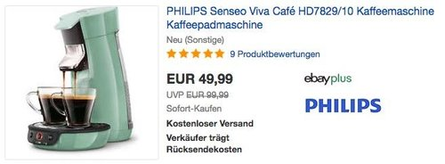 PHILIPS Senseo Viva Café HD7829/10 Kaffeepadmaschine in Mint-Grün (neu und unbenutzt, aber leichte Verpackungsmängel können vorhanden sein) - jetzt 31% billiger
