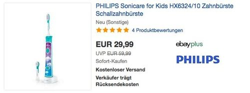 PHILIPS Sonicare for Kids HX6324/10 Elektrische Zahnbürste mit Schalltechnologie  (neu und unbenutzt aber leichte Verpackungsmängel können vorhanden sein) - jetzt 26% billiger