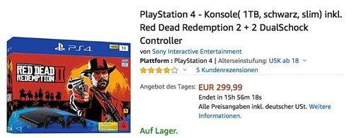 PlayStation 4 - 1TB Slim Konsole inkl. Red Dead Redemption 2 + 2 DualSchock Controller - jetzt 20% billiger