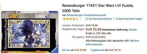 Ravensburger 17431 Star Wars I-VI Puzzle 5000 Teile - jetzt 20% billiger