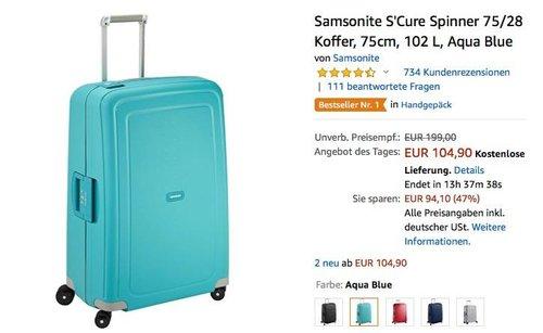 Samsonite S'Cure Spinner 102 L Koffer - jetzt 22% billiger