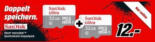 SANDISK Ultra® microSDHC™ Speicherkarte 32 GB Doppelpack - jetzt 33% billiger