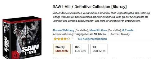 SAW I-VIII / Definitive Collection [Blu-ray] - jetzt 14% billiger