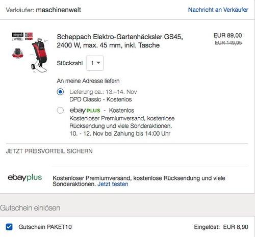Scheppach Elektro-Gartenhäcksler GS45 - jetzt 10% billiger