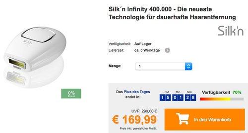 Silk´n Infinity Haarentfernungsgerät - 400.000 Lichtimpulse HPL - jetzt 22% billiger