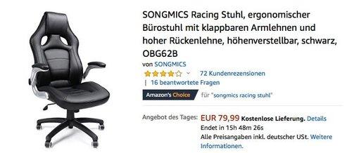 SONGMICS Racing Stuhl/Bürostuhl mit klappbaren Armlehnen, Schwarz (OBG62B) - jetzt 20% billiger