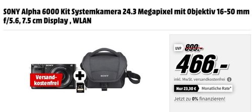 SONY Alpha 6000 Kit Systemkamera Schwarz 24.3 Megapixel mit Objektiv 16-50 mm f/5.6 und Tasche - jetzt 7% billiger