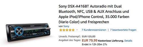 Sony DSX-A416BT Autoradio mit Dual Bluetooth, NFC, USB & AUX Anschluss - jetzt 11% billiger