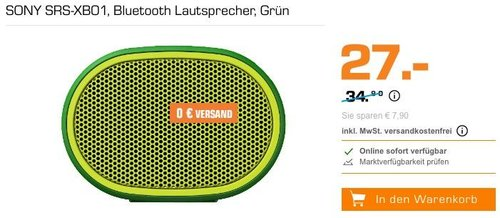 SONY SRS-XB01 Bluetooth Lautsprecher in verschiedenen Farben - jetzt 22% billiger