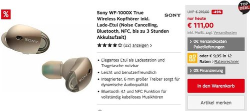 Sony WF-1000X True Wireless Kopfhörer inkl. Lade-Etui (Noise Cancelling, Bluetooth, NFC) - jetzt 23% billiger