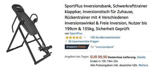 SportPlus Inversionsbank Schwerkrafttrainer für Nutzer bis 199cm & 135kg, schwarz oder rot/weiß - jetzt 23% billiger