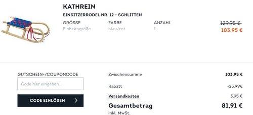 SportScheck.com - 25 % Extra-Rabatt auf ausgewählte Wintersportartikel: z.B. KATHREIN Einsitzerrodel NR. 12 - jetzt 21% billiger